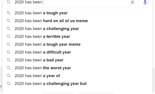 Google suggestions for the term '20201 has been...'